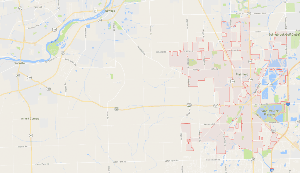Plainfield service map for caton commercial real estate
