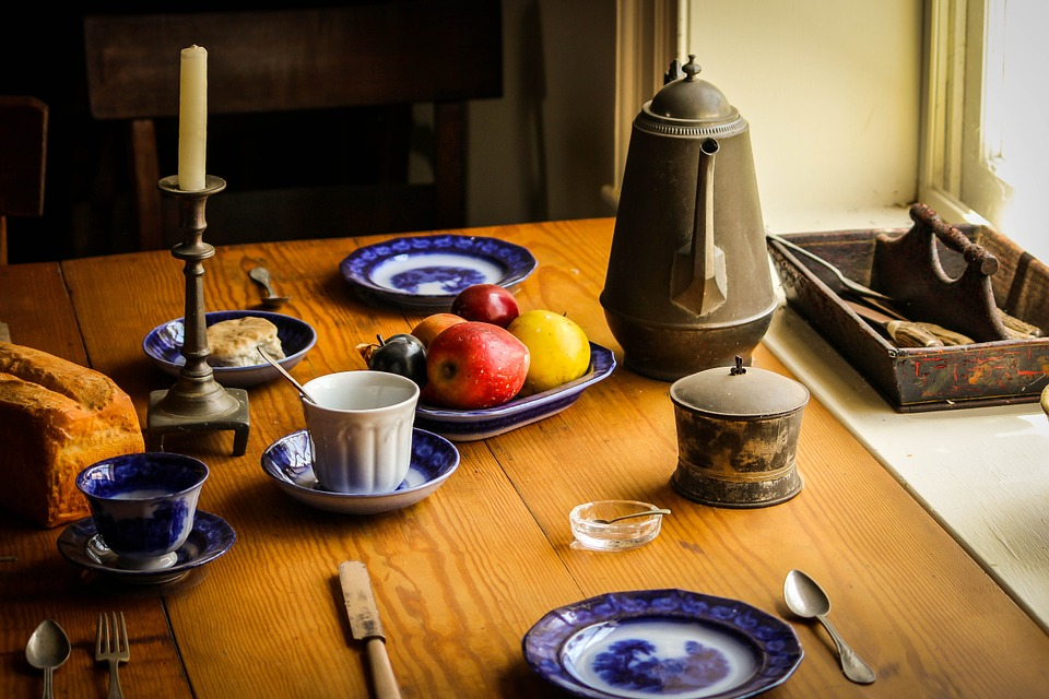 table with food and tea