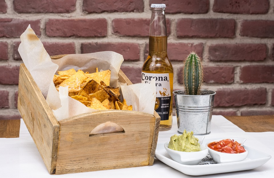 snacks with chips and beer